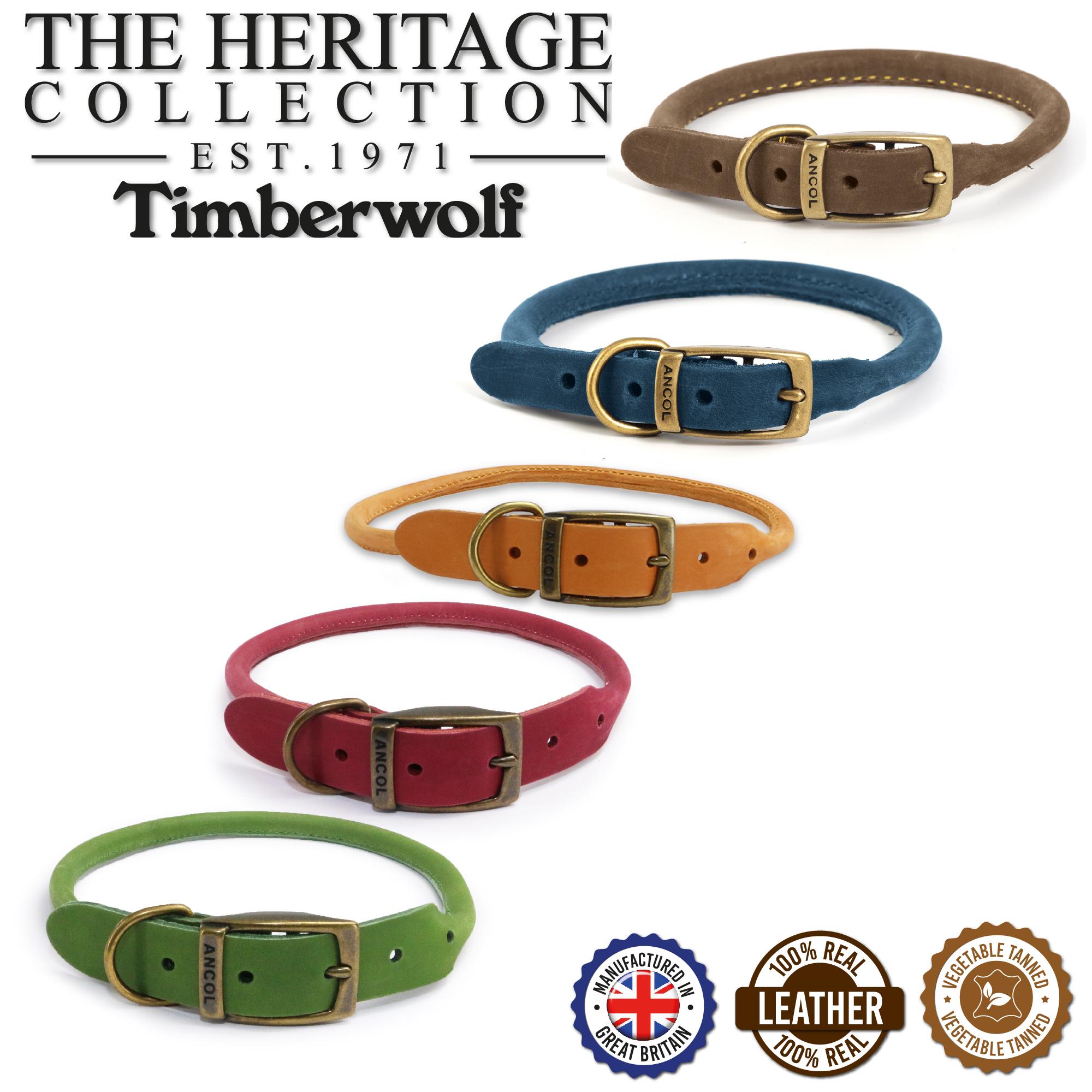 Kulatý kožený obojek timberwolf s technologií 3m - sobolí hnědá