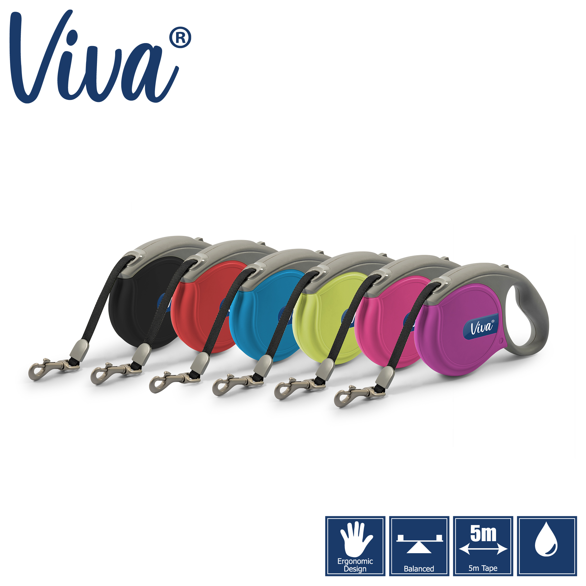 Samonavíjecí páskové vodítko viva - 5 m (20-75kg) červené