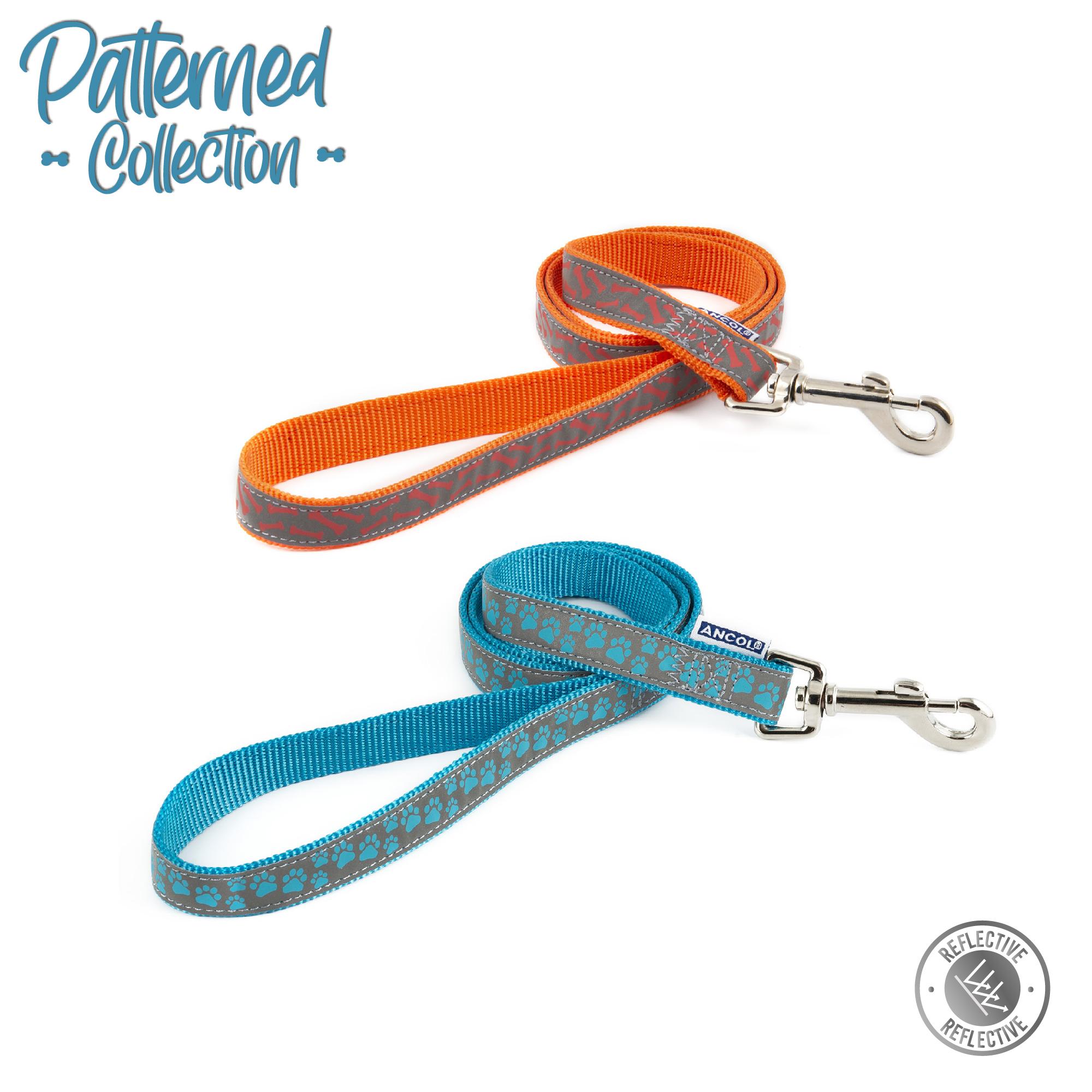 Vodítko nylonové - oranžové s kostičky reflexní