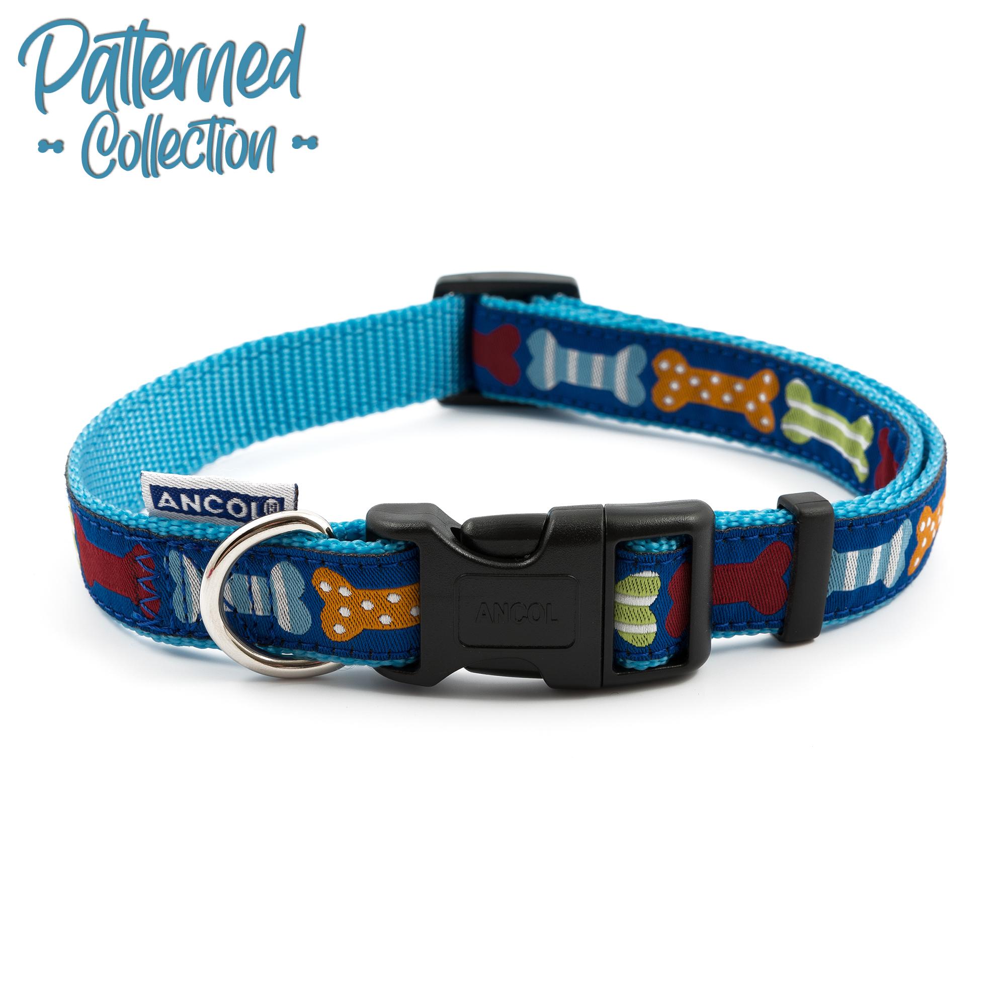 Obojek pro psy nylon - modrý s barevnými kostičky