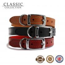 Classic Leather Collar Black 20-26cm Size 1
