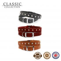 Leather Stud Collar Tan 20-26cm Size 1