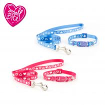 Small Bite Heart Collar Lead Set Raspberry