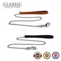Leather Fine Chain Lead Tan 87cm