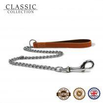 Leather Heavy Chain Lead Tan 80cm