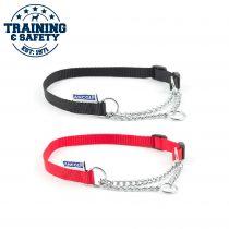 Nylon Check Chain Collar Black 25-35cm Size 1-2
