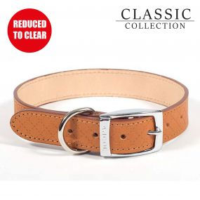 Diamond Leather Collar Tan 22-26cm XS