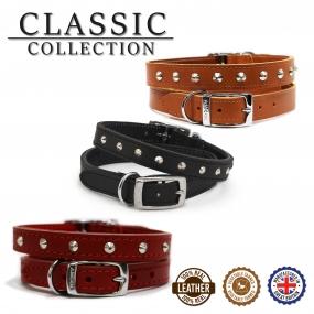 Leather Stud Collar Tan 20-26cm Size 1