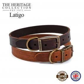Latigo Leather Collar Chestnut 20-26cm Size 1