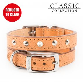 Diamond Stud Collar Tan 22-26cm XS