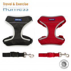 Travel Dog Harness Black M 42-66cm