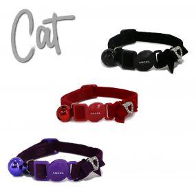 Velvet Heart Cat Collar Black