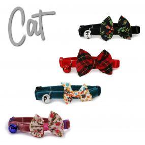 Vintage Bow Safety Cat Collar Black