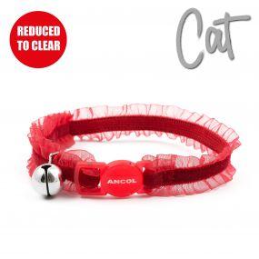 Velvet Frills Safety Cat Collar Red