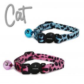 Velvet Leopard Print Cat Collar Turquoise