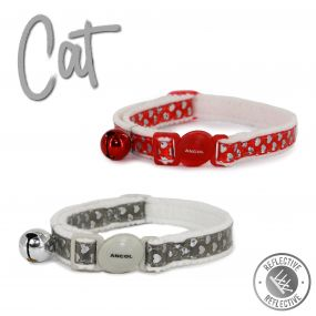 Refl Hearts Safety Cat Collar Red