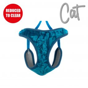 Velvet Cat Harness and Lead Teal L
