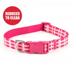 Candy Pink Check Collar 45-70cm Size 5-9