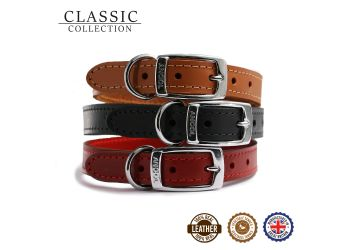 Classic Leather Collar Black 39-48cm Size 5