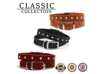 Leather Stud Collar Tan 28-36cm Size 3