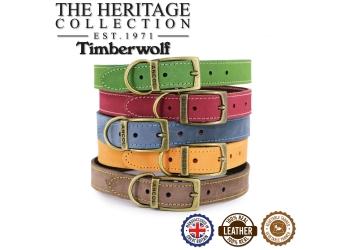 Timberwolf Leather Collar Green 28-36cm Size 3