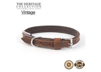 Vintage Leather Padded Collar 26-31cm Size 2