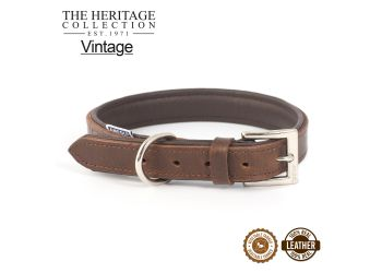 Vintage Leather Padded Collar 45-54cm Size 6