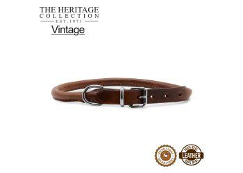 Round Leather Collar Chestnut 28-36cm Size 3