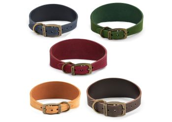 Timberwolf Whippet Leather Collar Blue 30-34cm