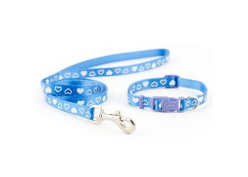 Small Bite Heart Collar Lead Set Blue