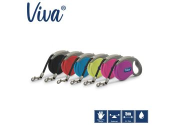 Viva Retractable 5m Lead Pink S