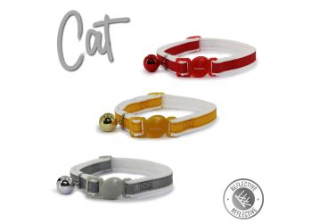 Reflective Safety Buckle Cat Collar Silver