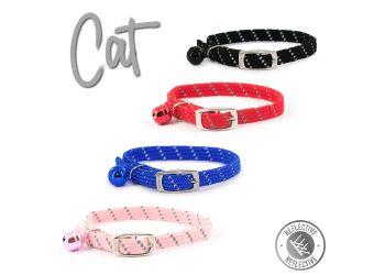 Softweave Refl Elastic Cat Collar Black