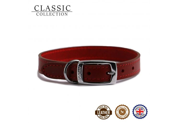 Classic Leather Collar Red 20-26cm Size 1