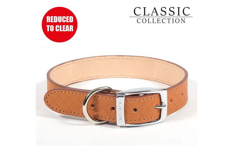 Diamond Leather Collar Tan 46-56cm L