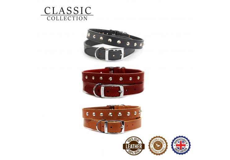 Leather Stud Collar Tan 26-31cm Size 2