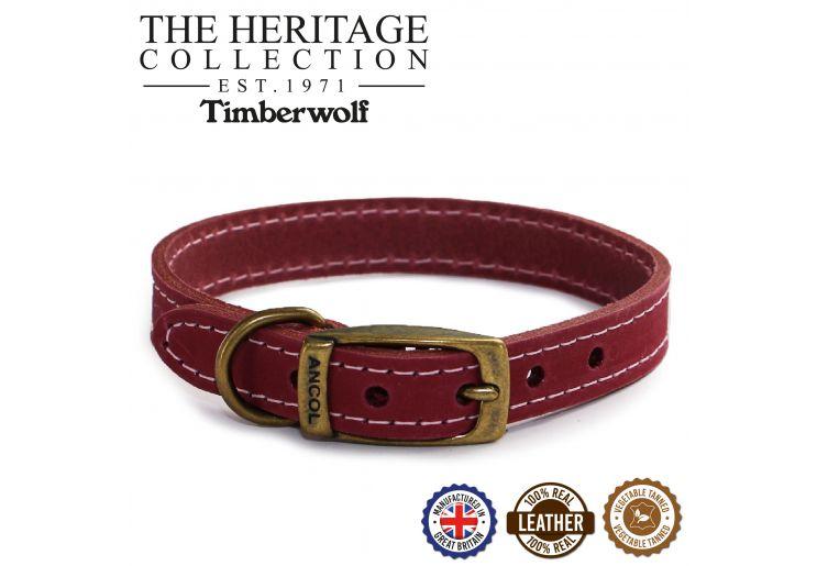 Timberwolf Leather Collar Raspberry 20-26cm Size 1