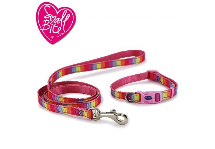 Small Bite Rainbow Collar Lead Set Pink