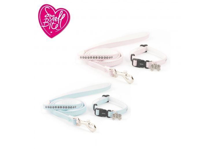 Small Bite Jewel Collar Lead Set Blue