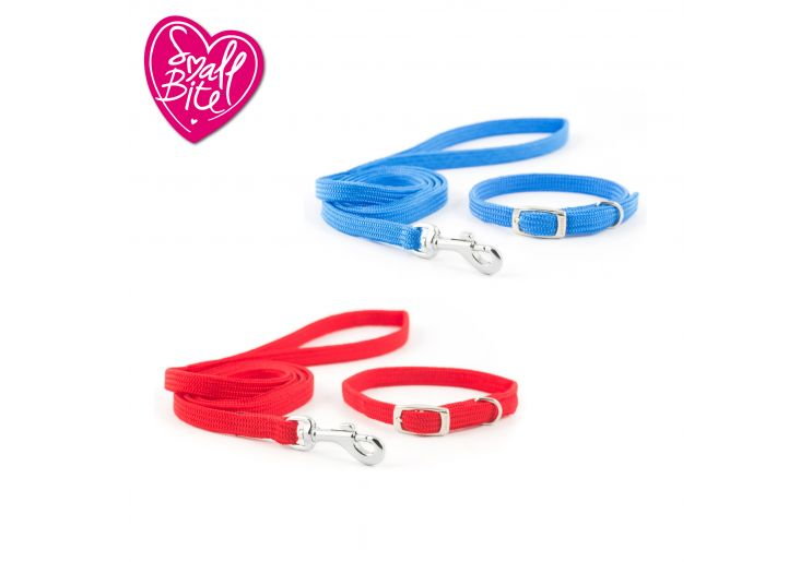 Small Bite Softweave Collar Lead Set Red