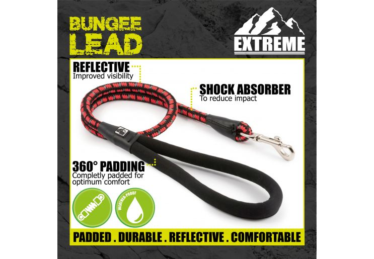Extreme Shock Absorb Rope Lead Black/Red